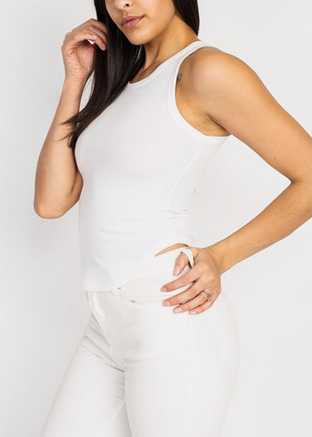 Image of White Sleeveless Ribbed Tank Top