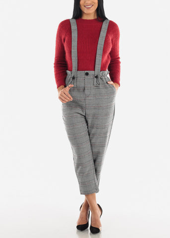 Pull On High Waist Pants Overall