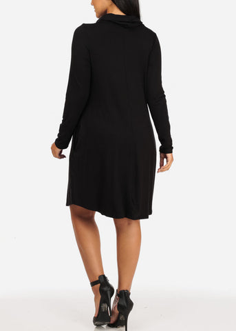 Image of Cowl Neckline Black Dress