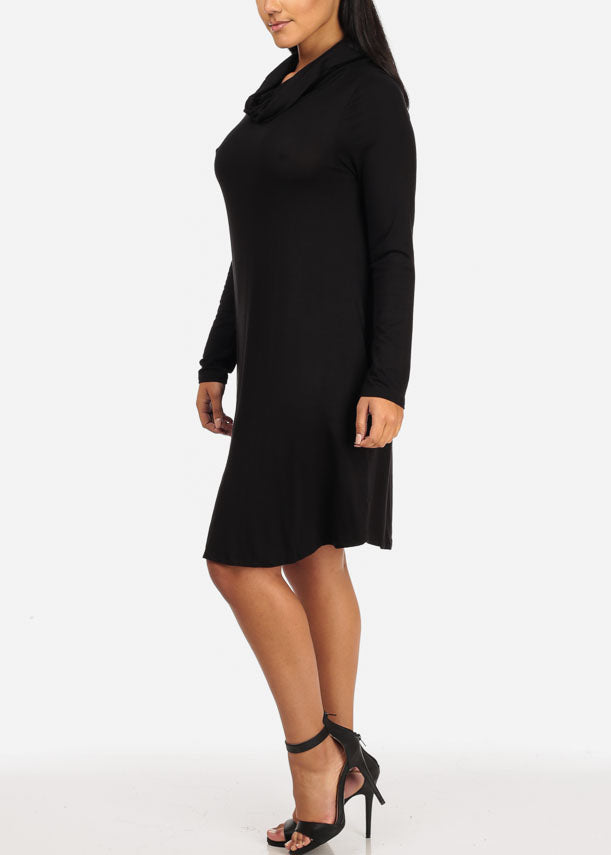 Cowl Neckline Black Dress
