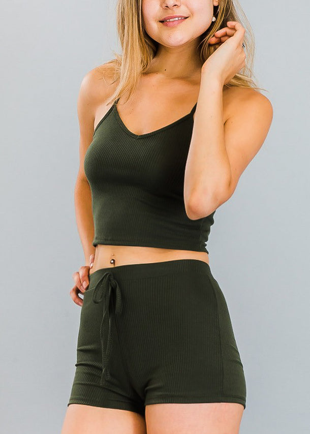 Ribbed Olive Crop Top & Shorts (2 PCE SET)