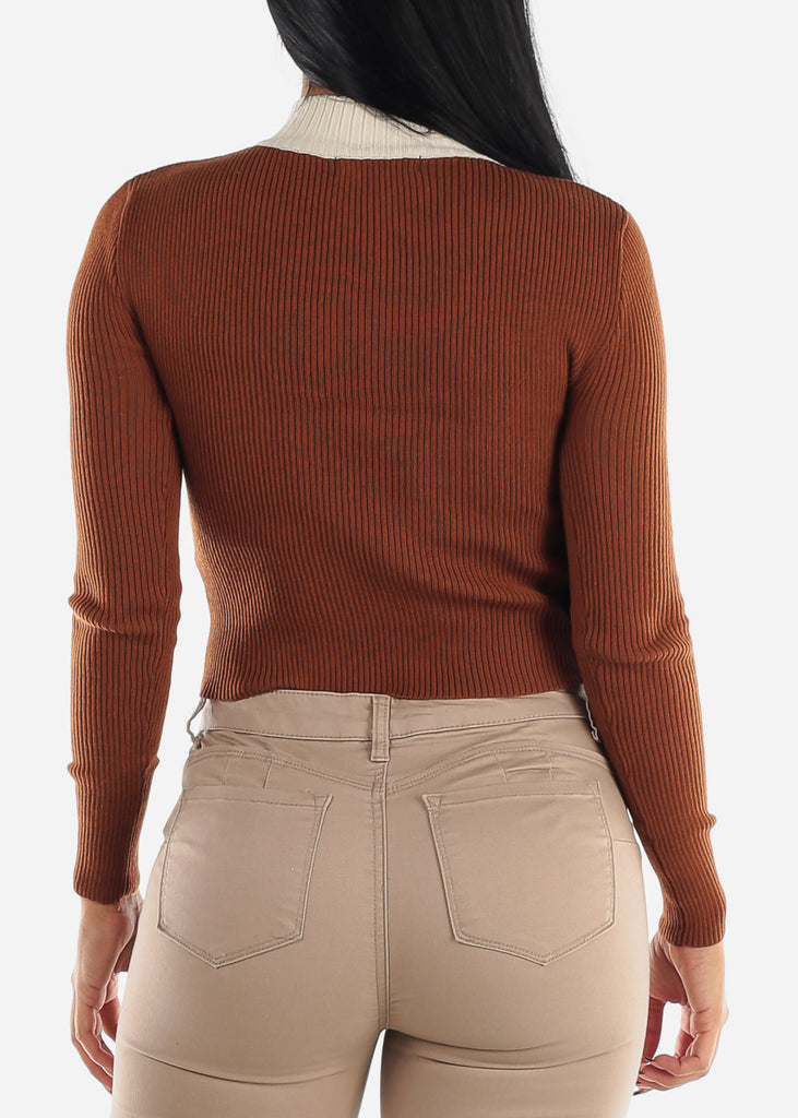 Half Zip Up Ribbed Brown Sweater