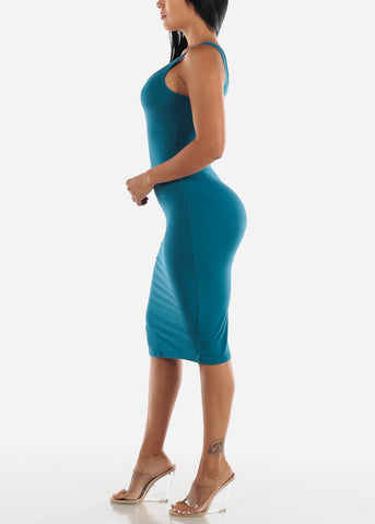 Image of Sleeveless Bodycon Teal Dress