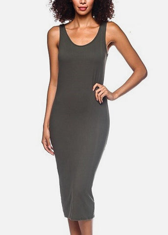 Sleeveless Bodycon Olive Dress