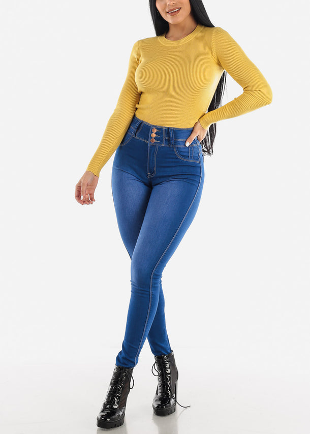 Cozy Classic Ribbed Mustard Sweater