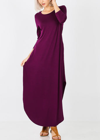 Plum Round Hem Maxi Dress