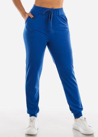 Image of High Waisted Royal Blue Jogger Pants