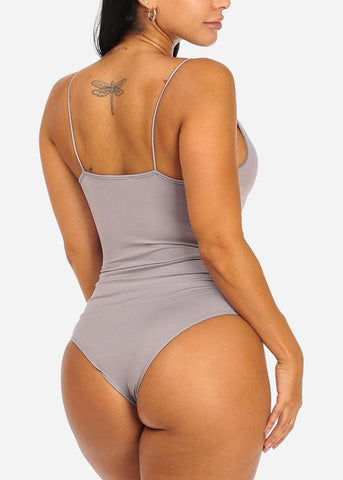 Grey Spaghetti Strap Stretchy Bodysuit