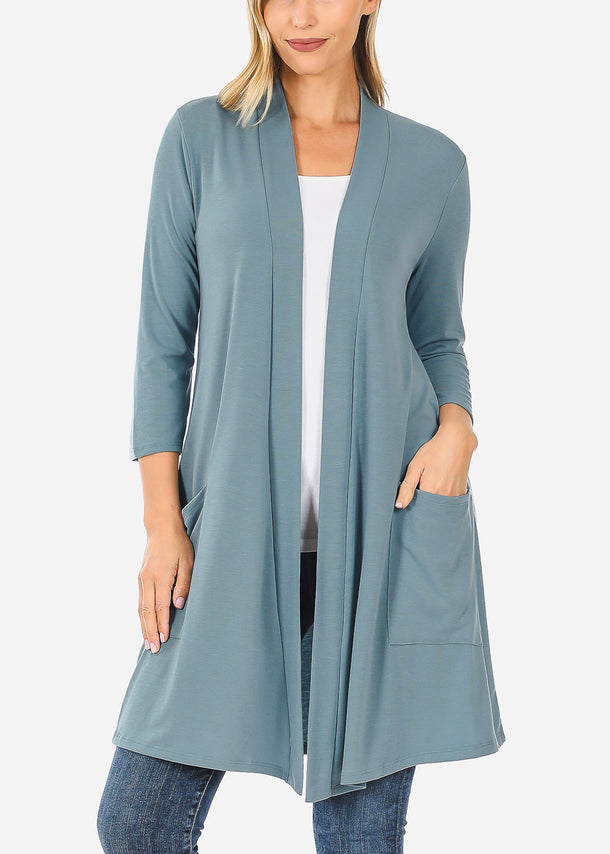 Quarter Sleeve Open Front Blue Cardigan