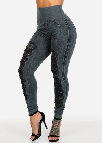 Image of High Waisted Distressed Leggings