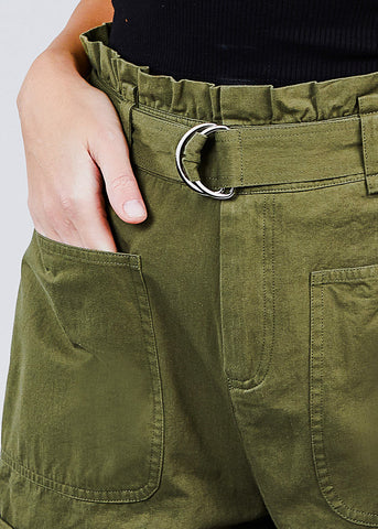 Cotton Paperbag Olive Shorts