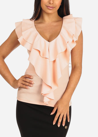 Women's Junior Ladies Sexy Going Out Dressy Ruffle Detail Light Peach Sleeveless Top