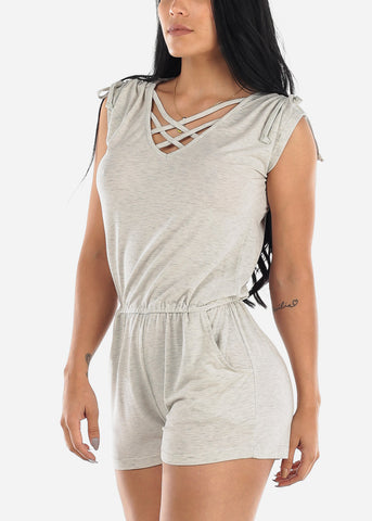 Image of Strappy Neckline Light Grey Romper