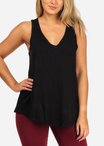 Image of Women's Juniors Ladies Essential Must Have Stretchy Flowy V Neckline Sleeveless Work Out Casual Day Solid Black Flowy Top