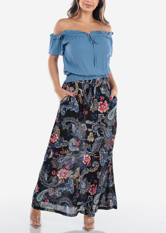 Image of Women's Junior Ladies Cute Must Have Stylish Black Floral Print High Waisted Maxi Skirt