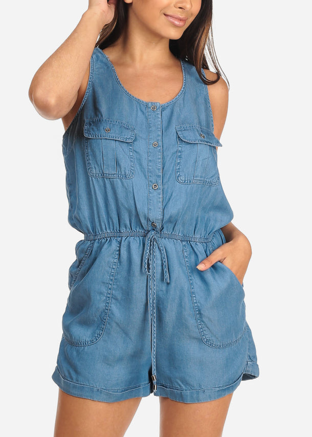 Women's Junior Ladies Cute Casual Trendy Sleeveless Button Up Front Top Pockets Elastic Waist Med Wash Denim Romper