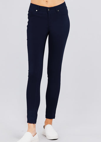 Image of Navy High Waisted Skinny Pants