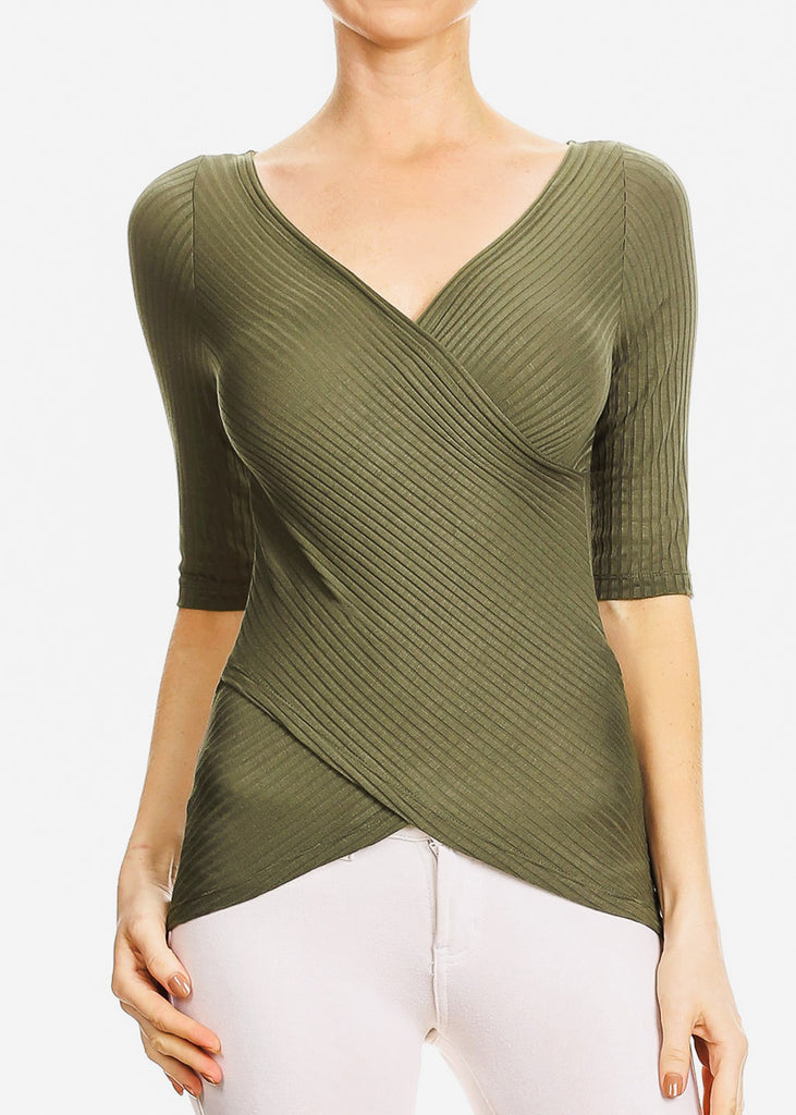 3/4 Sleeve Wrap Front Olive Top