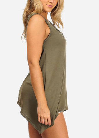 Women's Junior Casual Stretchy Comfy Solid Color Asymmetrical Hem Lace Up Neckline Detail Olive Tunic