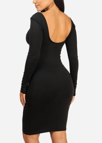 Image of Long Sleeve Bodycon Black Dress