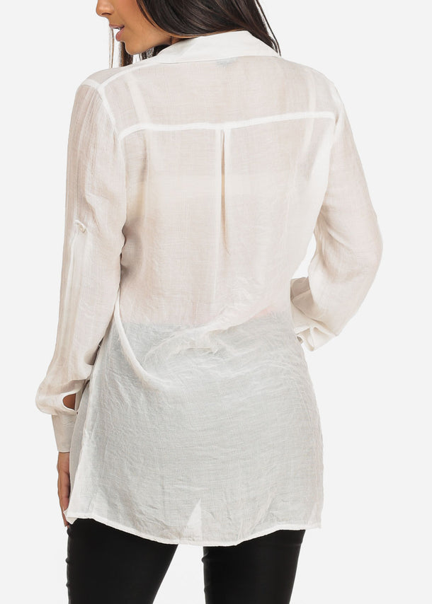 Lightweight White Tunic Top