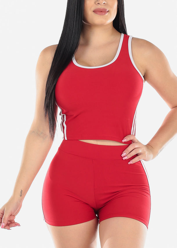 Activewear Red Top & Shorts (2 PCE SET)