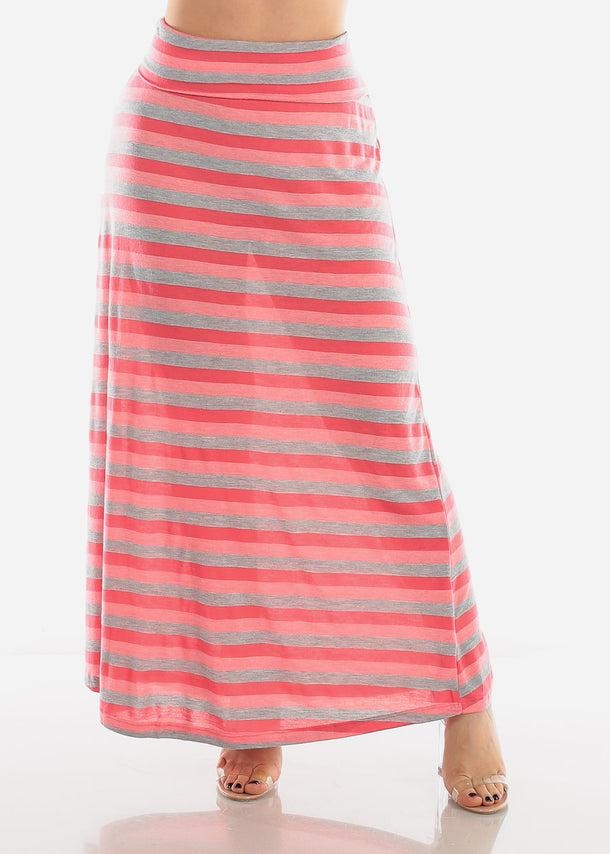 Pink & Grey Stripe Maxi Skirt