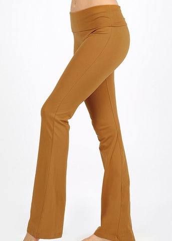 Fold Over High Rise Camel Yoga Pants