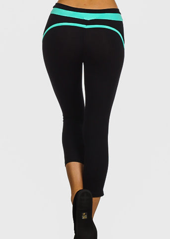 Image of Mint Trim Black Capri Leggings