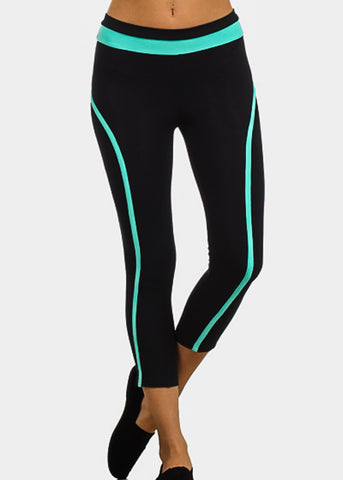 Mint Trim Black Capri Leggings