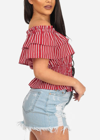 Women's Junior Sexy Off The Shoulder Red Stripe Shirring Detail Summer Trendy Lightweight Crop Top