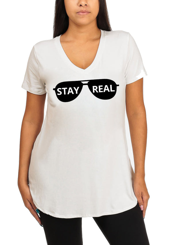 Short Sleeve Blue Super Stretchy Stay Real Graphic Print Tee Tank Top