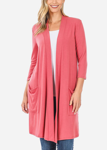 Quarter Sleeve Open Front Mauve Cardigan