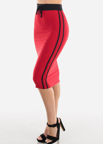Image of Women's Junior Ladies Cute Casual Going Out Stylish High Waisted Side Stripe Black And Red Midi Skirt