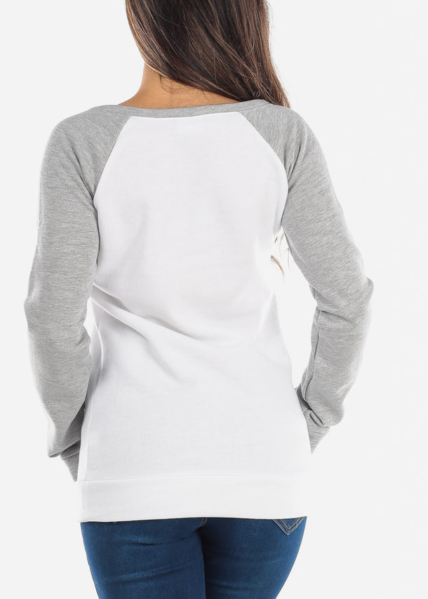 White & Grey Pullover Sweatshirt