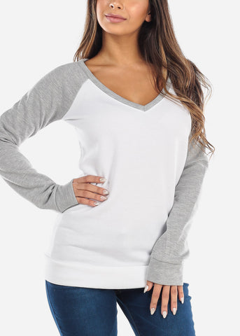 Image of White & Grey Pullover Sweatshirt