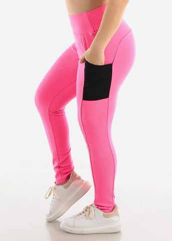 Pink Side Pockets Leggings