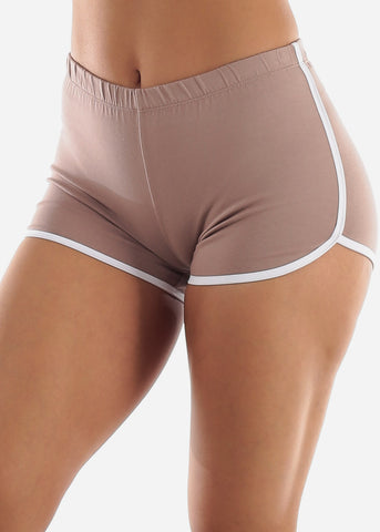 Image of Mauve Dolphin Hem Shorts
