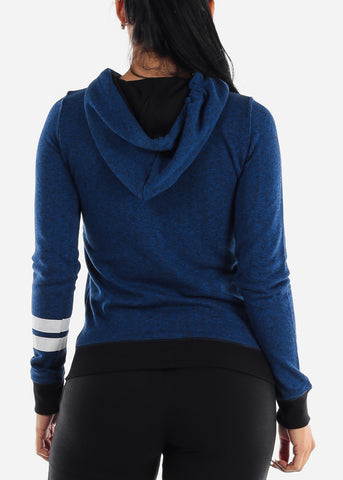 Long Sleeve Royal Blue Zip Up Hoodie