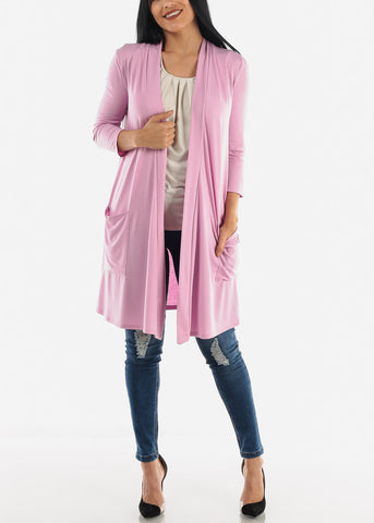 Image of Quarter Sleeve Open Front Rose Cardigan