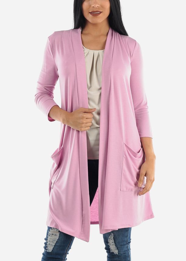 Quarter Sleeve Open Front Rose Cardigan