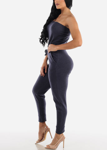 Image of Strapless Indigo Jumpsuit