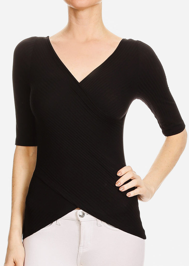3/4 Sleeve Wrap Front Black Top