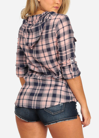 Image of Women's Junior Ladies Stylish Pink And Navy Plaid Print 3/4 Roll Up Sleeve Button Up Shirt Top With Hoody