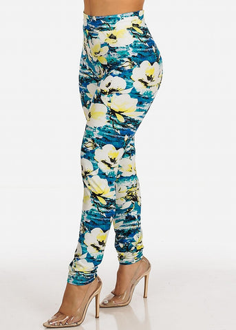 Stretchy Floral Blue Leggings