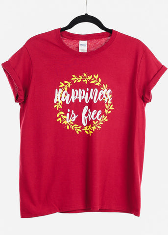 "Image of Red Graphic Top ""Happiness Is Free"""