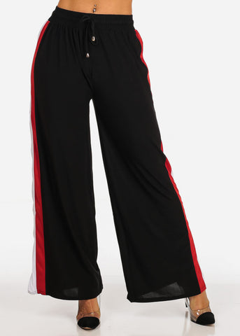 High Rise Stripe Side Black Pants