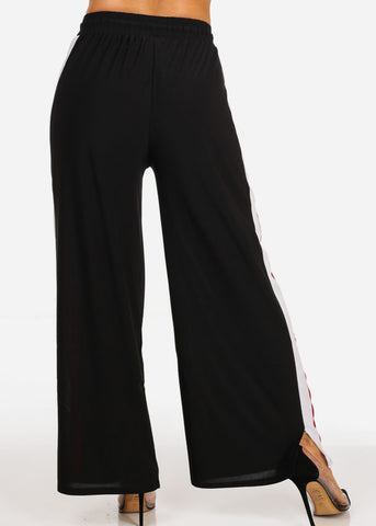 Image of High Rise Stripe Side Black Pants