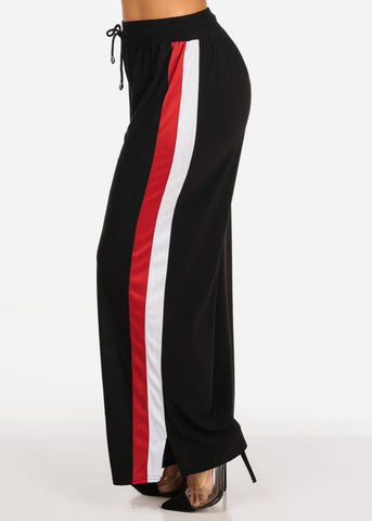 Image of One Size High Waisted Stripe Sides Black Stretchy Wide Legged Pants
