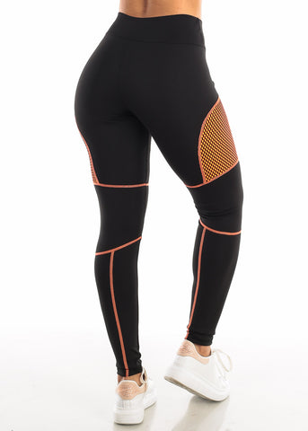 Activewear Orange Mesh Black Leggings